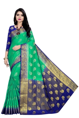 Green woven pure silk saree with blouse