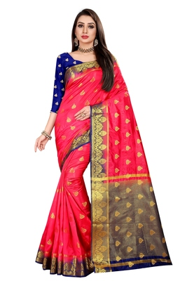 Peach woven pure silk saree with blouse