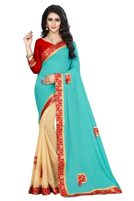 Sky Blue Embroidered Georgette Saree With Blouse