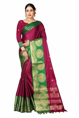 Wine printed cotton silk saree with blouse