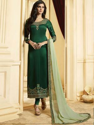 Green Silk Georgette Party Wear Straight Suit