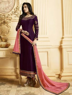 Purple Silk Georgette Party Wear Straight Suit