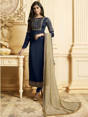 Navy Blue Silk Georgette Party Wear Straight Suit