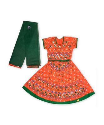 Orange bandhej embroidered Girls Chaniya Choli