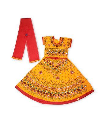 Yellow bandhej embroidered Girls Chaniya Choli