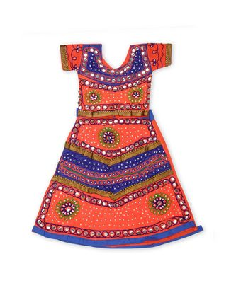 Orange/Royal Blue Girls Chaniya Choli