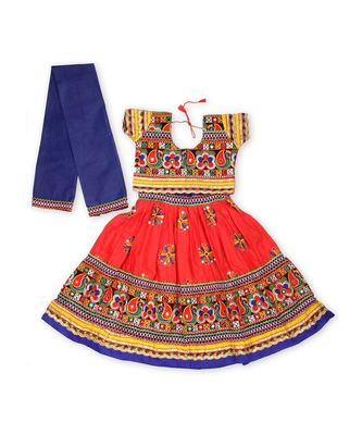 Red kutchi flower embroidery chaniya choli