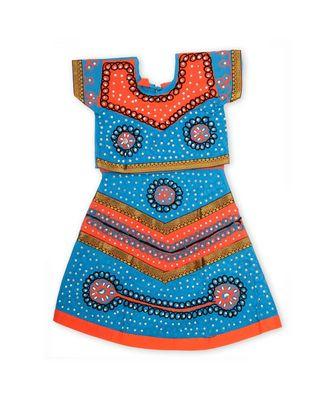 Blue Orange Girls Chaniya Choli