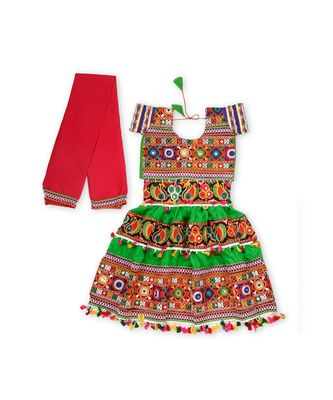Green Kutchi Embroidery Chaniya Choli