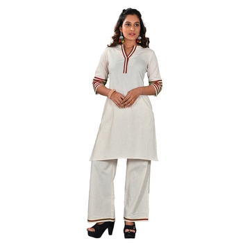 Women's Khadi Kurta-Palazzo with Red pippings