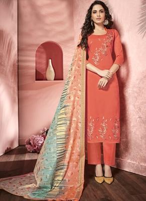 Orange Satin Party Wear Salwar Kameez