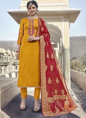 Yellow Georgette Party Wear Salwar Kameez