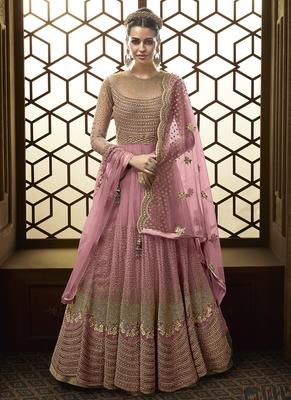 Pink Net Wedding Salwar Kameez