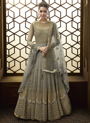 Grey Net Wedding Salwar Kameez