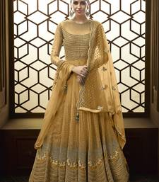 Yellow Embroidered Net Semi Stitched Anarkali With Dupatta