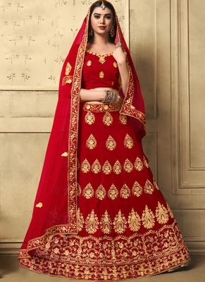Red Heavy Embroidery Velvet Lehenga