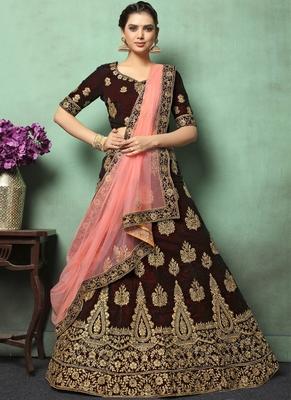 Dark Brown Heavy Embroidery Velvet Lehenga