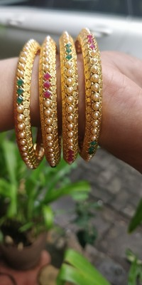 Gold Plated And Multicolour Beaded Bangles Set Of 4