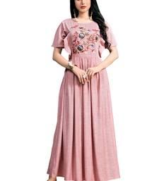 Baby-pink embroidered cotton ethnic-kurtis