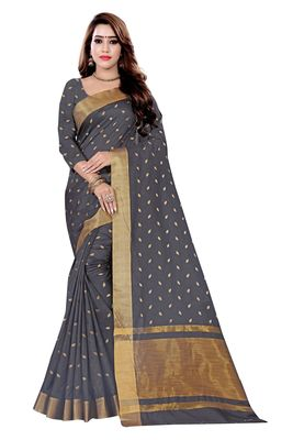 Dark Grey Woven Cotton Silk Saree With Blouse