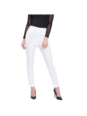 women slim fit white pencil trouser pant