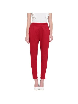 women slim fit maroon pencil trouser pant