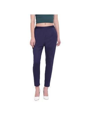 women slim fit navy blue pencil trouser pant