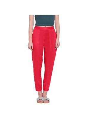 women regular fit red pintucks trouser pant
