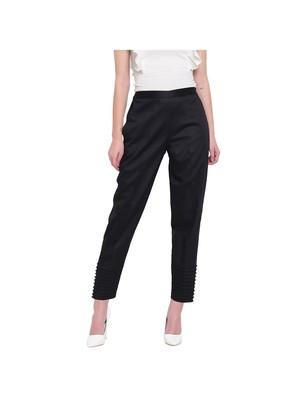 women regular fit black pintucks trouser pant