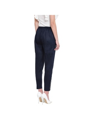 women regular fit navy blue pintucks trouser pant