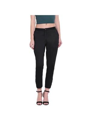 women slim fit black crop blossom capri trouser pant