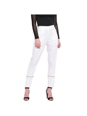women regular fit white ethnic trouser pant