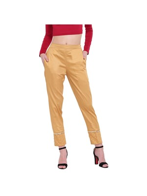 women regular fit gold ethnic trouser pant