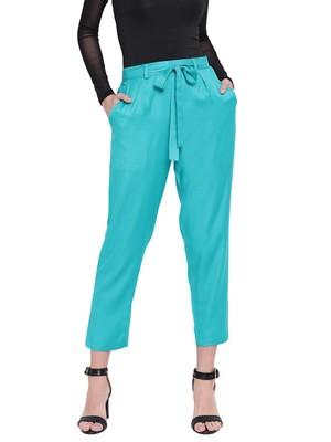 Women's Fashionable Stylish Sea Blue Trousers