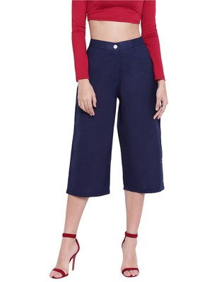 Women's Fashionable Stylish Navy Blue Trousers
