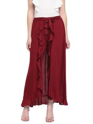 Maroon Women's Ruffle Palazo Trouser