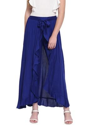 Royal Blue Women's Ruffle Palazo Trouser