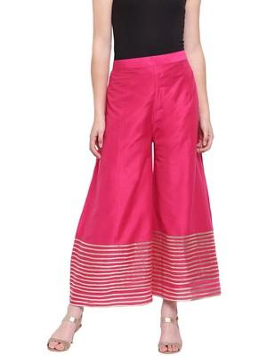 Magenta Women's Kalidar Silk Palazzo Trouser