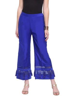 Blue Women's Silk Stripe Tassles Flare Palazzo Trouser