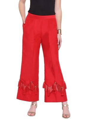 Red Women's Zig Zag Silk Stripe Palazzo Trouser