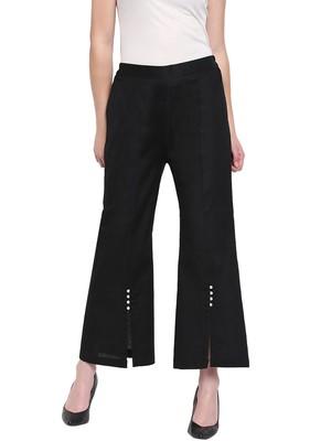 Black Women's Linen Pearl Palazzo Trouser