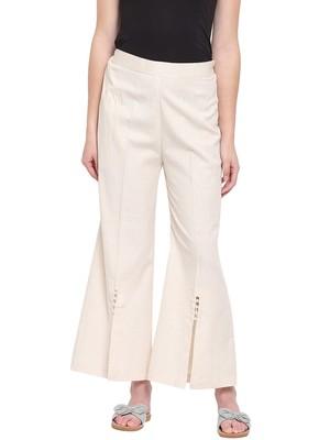 Off White Women's Linen Pearl Palazzo Trouser
