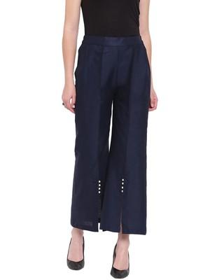 Navy Blue Women's Linen Pearl Palazzo Trouser