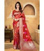 Buy Red woven banarasi saree with blouse