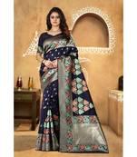 Buy blue woven banarasi saree with blouse