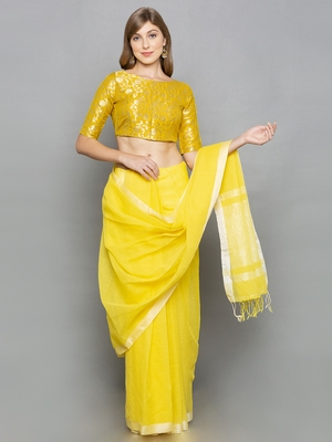 Yellow Brocade readymade blouse
