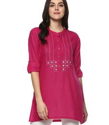 Pink embroidered cotton ethnic-kurtis