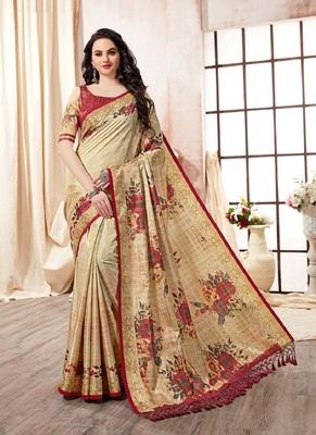 Beige printed pure kanjivaram silk blend saree with blouse