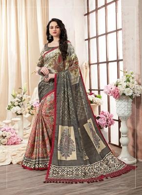 multicolor printed pure kanjivaram silk blend saree with blouse