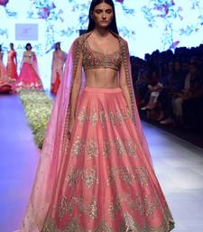 Pink embroidered silk unstitched lehenga